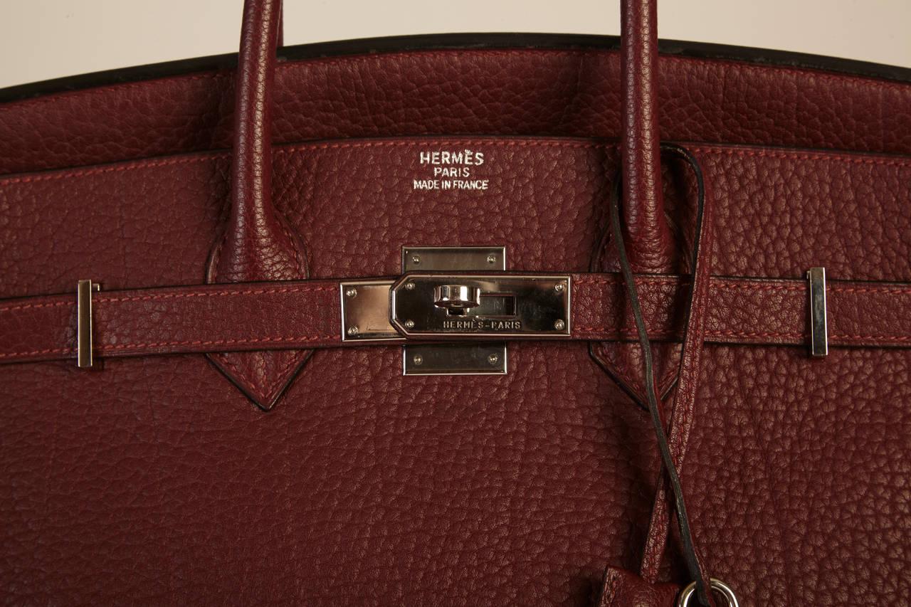 Hermes Fjord Leather Birkin Bag 35 Cm In Bordeaux At 1stdibs