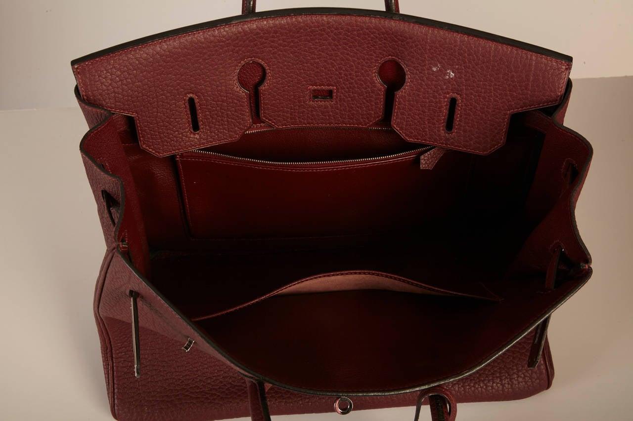 Hermes Fjord Leather Birkin Bag - 35 cm in Bordeaux at 1stdibs