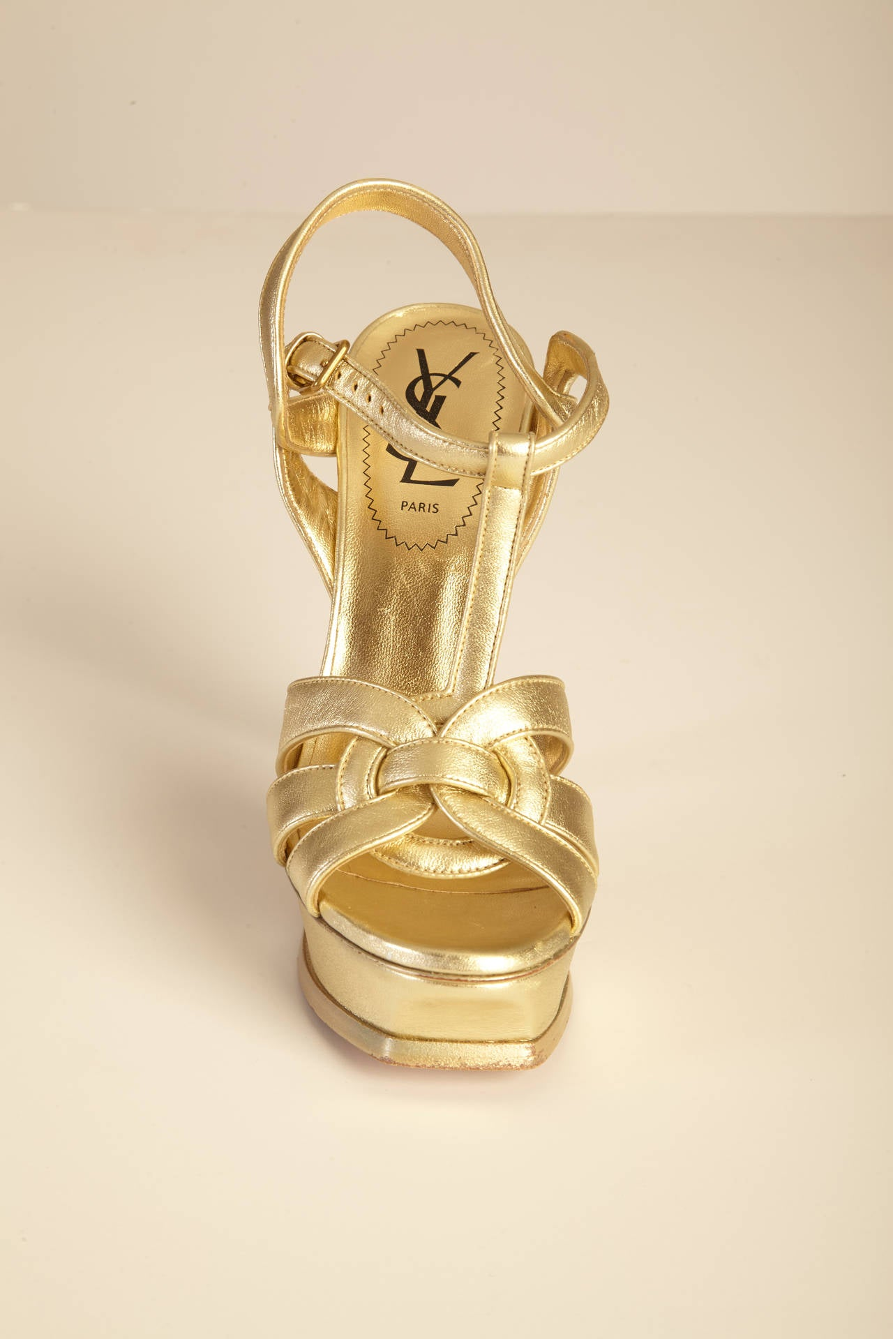 Saint Laurent Gold Tribute T Strap Platform Sandals 2