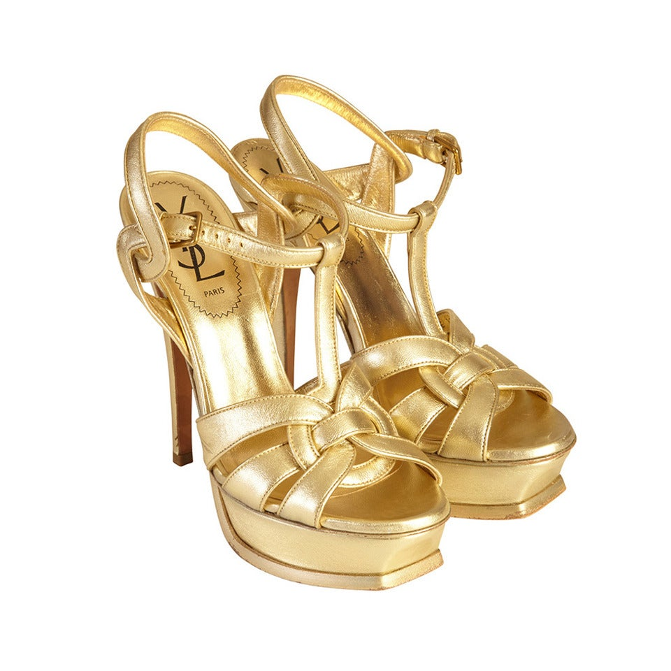 Saint Laurent Gold Tribute T Strap Platform Sandals 1