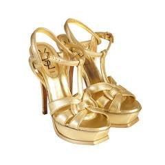 Saint Laurent Gold Tribute T Strap Platform Sandals