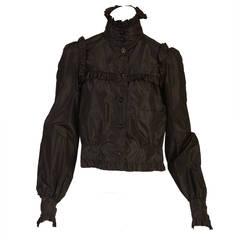 2007 Chanel Black Silk Ruffled Jacket