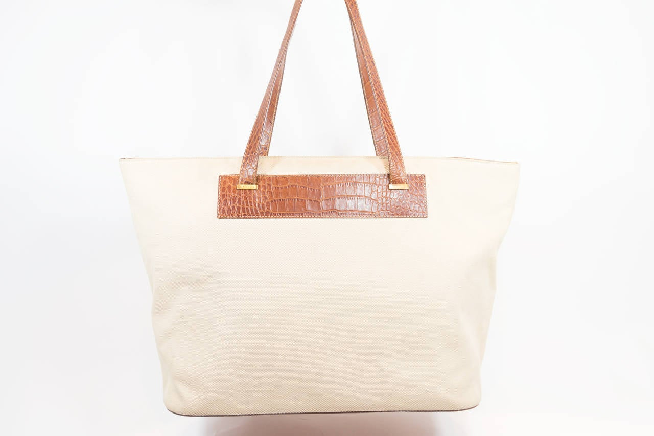 Celine Canvas Tote With Brown Crocodile Trim at 1stdibs