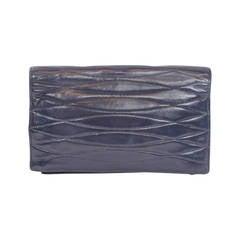 Chanel Vintage Navy Lambskin Wallet/Clutch