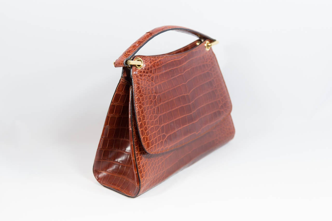 Bally Brown Embossed Alligator Handbag At 1stdibs