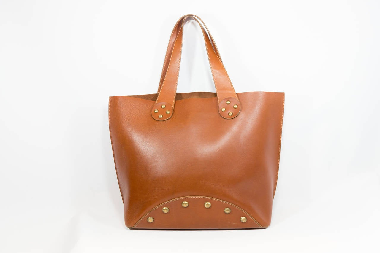 replica celine phantom bag - Celine Cognac Leather Studded Tote at 1stdibs