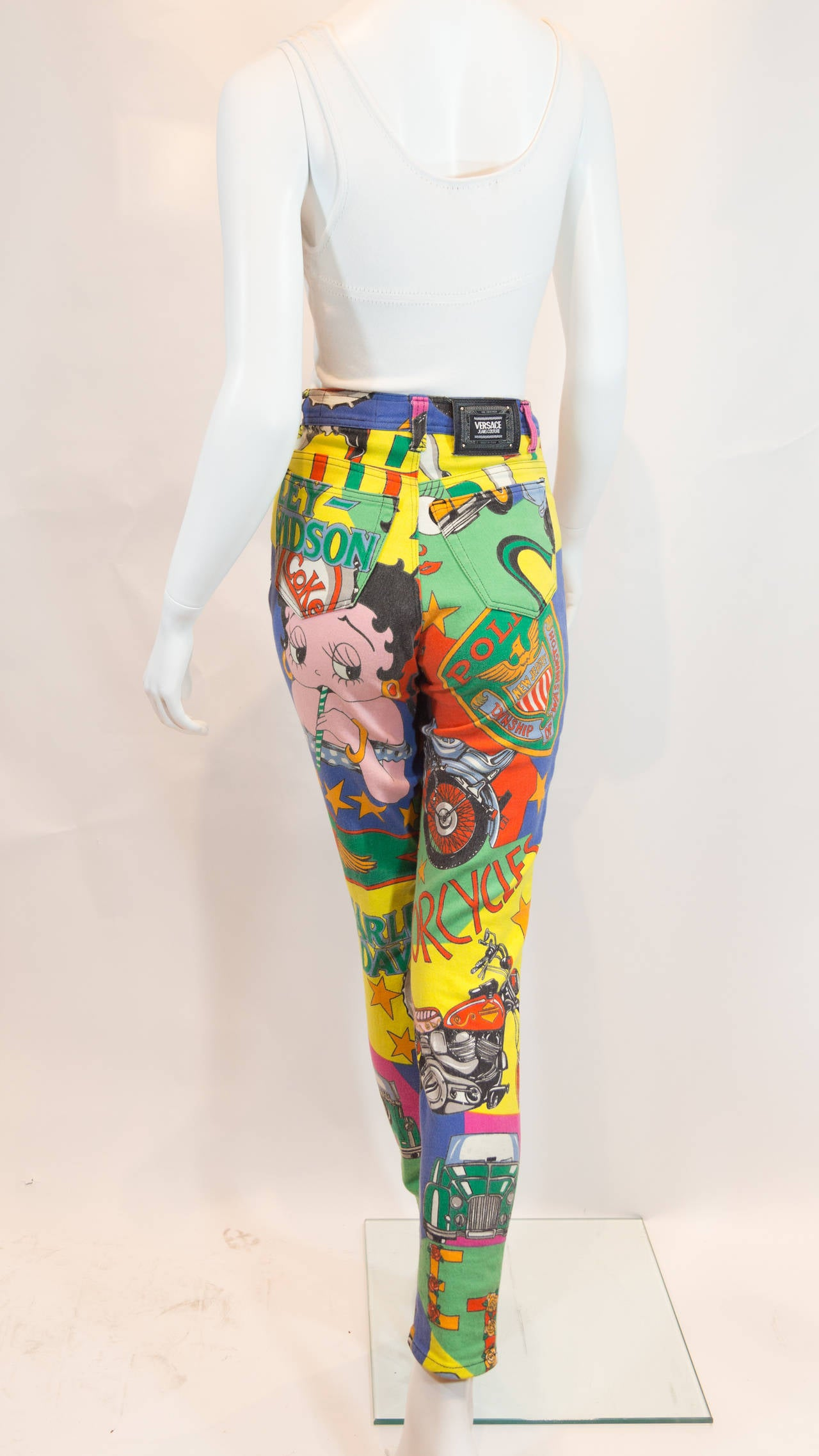 1990s Gianni Versace Couture Betti Boop Print Jeans 4