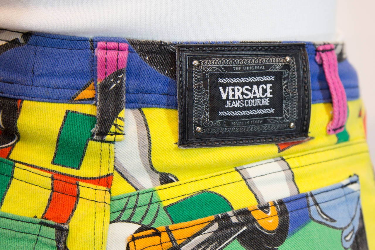 1990s Gianni Versace Couture Betti Boop Print Jeans 5