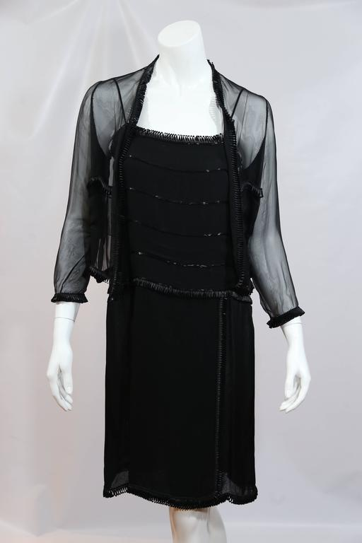 Chanel Black Sheer Dress With Beaded Trim and Shrug  4