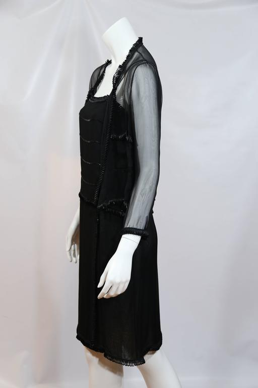 Chanel Black Sheer Dress With Beaded Trim and Shrug  3