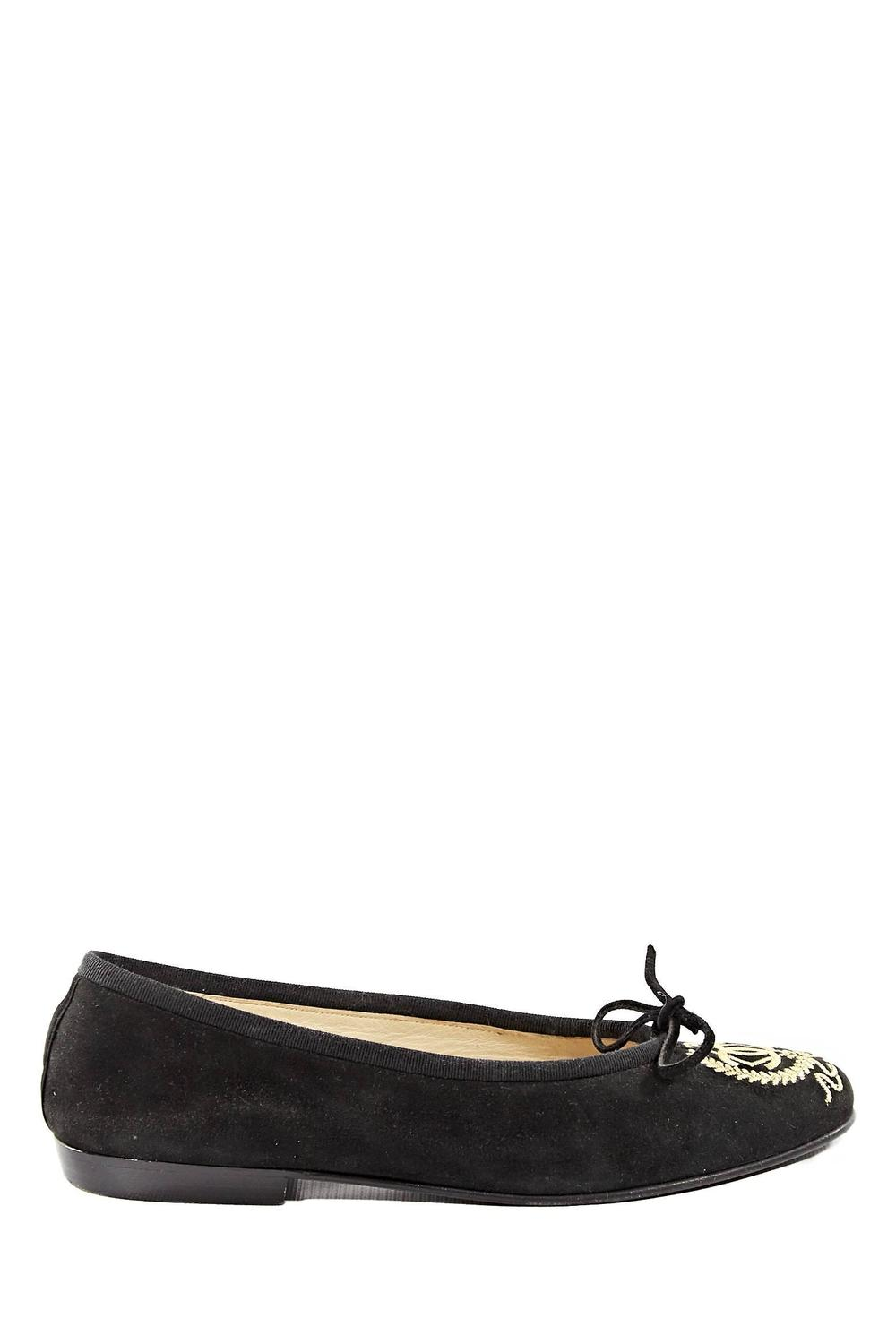 chanel black and gold suede emblem flat shoes at 1stdibs