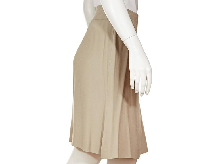 Tan Chanel Silk A-Line Skirt 4