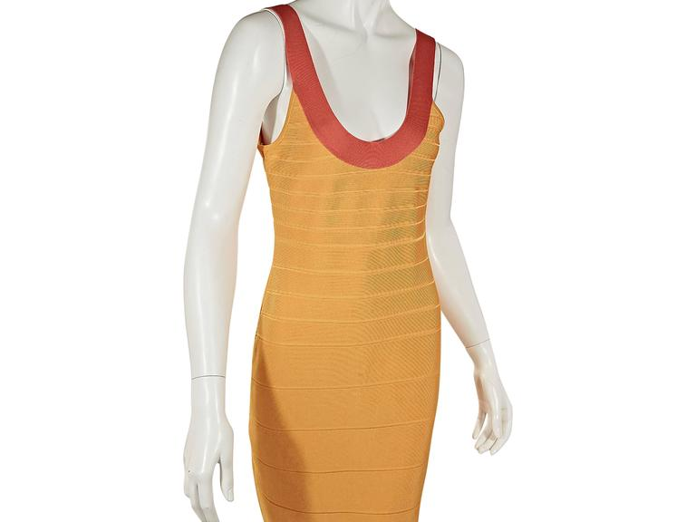Yellow & Orange Herve Leger Bandage Dress 4