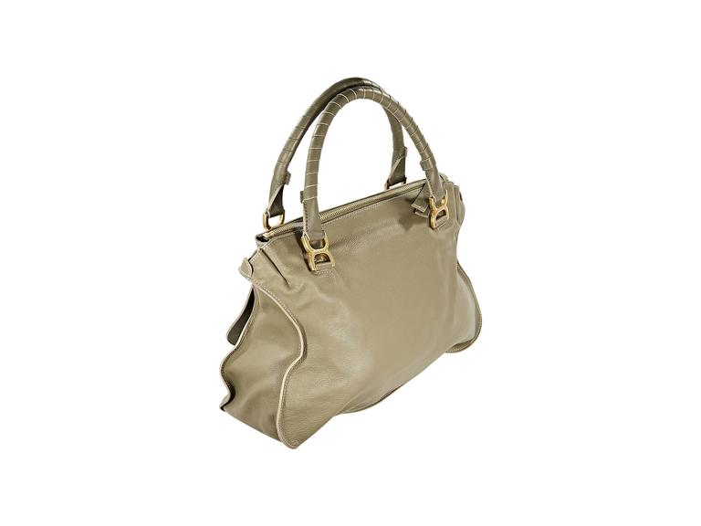 f2691bc1953c Olive green leather Marcie satchel by Chloe. Double shoulder straps. Top zip  closure.
