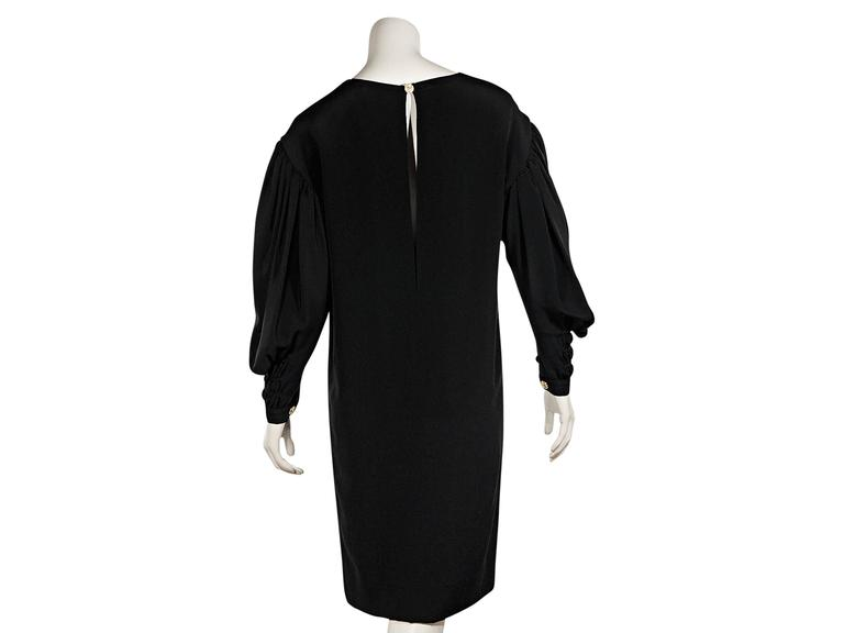 Black Vintage Chanel Long-Sleeve Dress In Excellent Condition For Sale In New York, NY