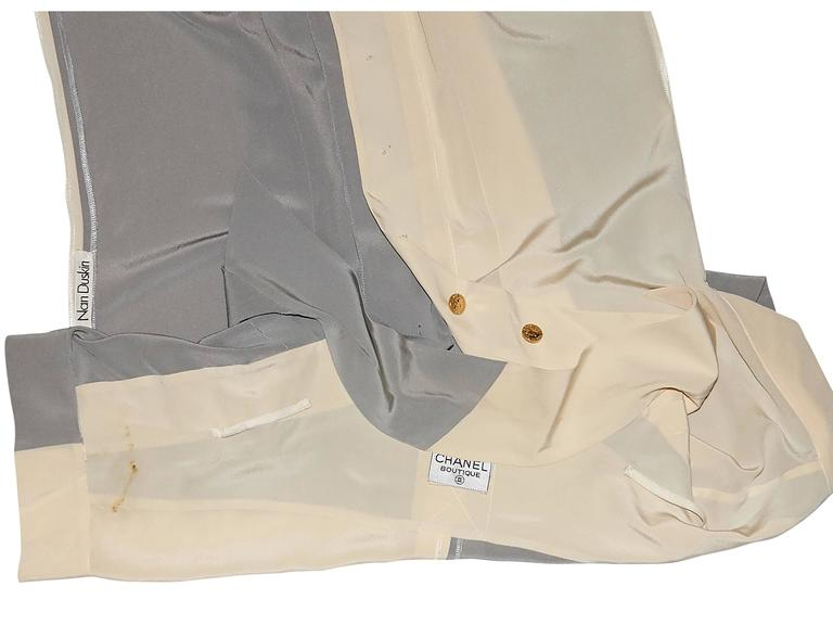 Tan & Grey Vintage Chanel Button-Front Shirt In Good Condition For Sale In New York, NY