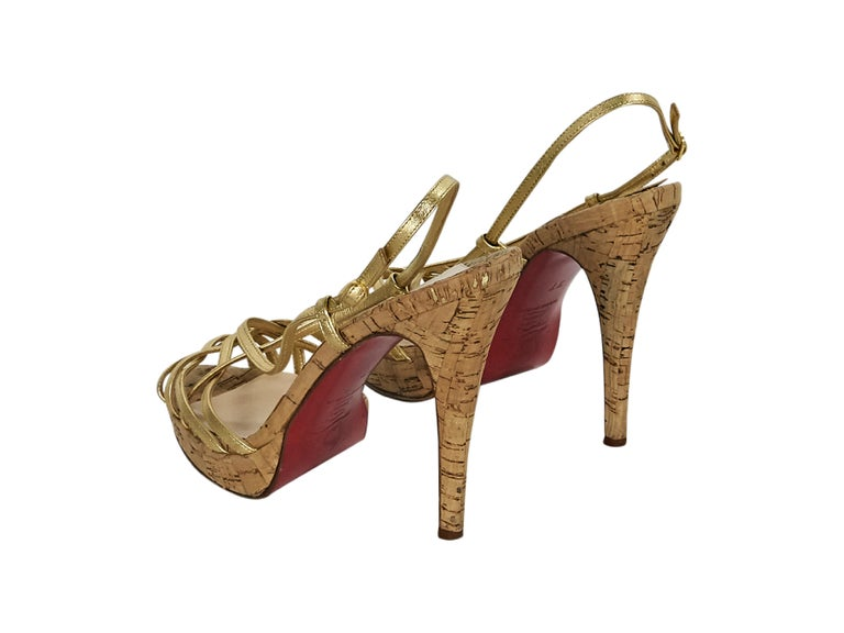 20542fdaeca6 Brown Metallic Gold Christian Louboutin Strappy Platform Sandals For Sale