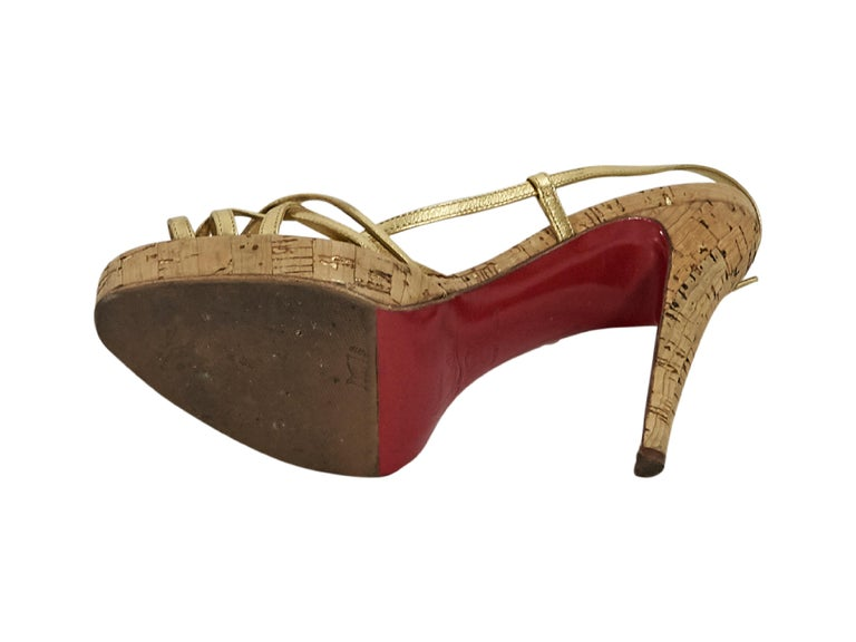 a8ef2d5188ef Metallic Gold Christian Louboutin Strappy Platform Sandals In Good  Condition For Sale In New York
