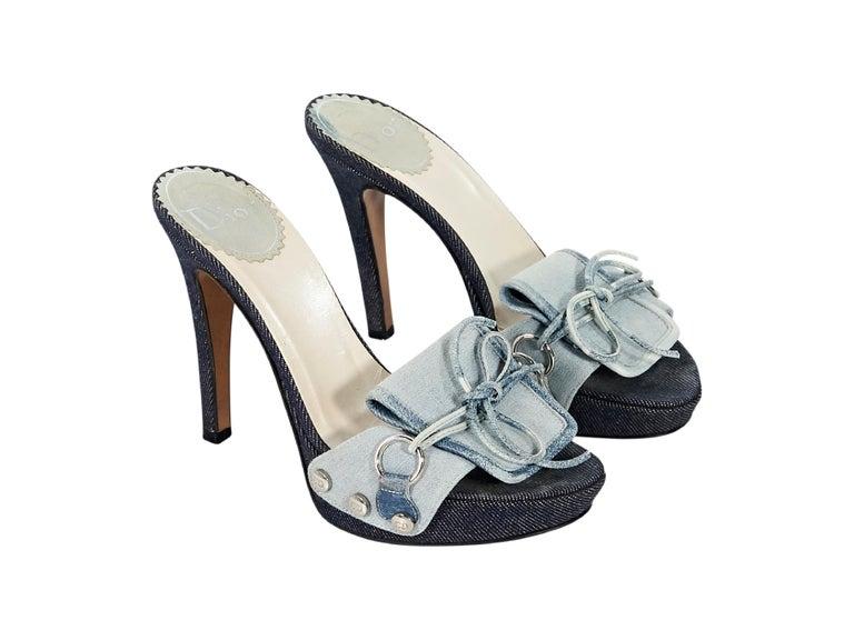 e0e5eedf Blue Christian Dior Denim Platform Sandals