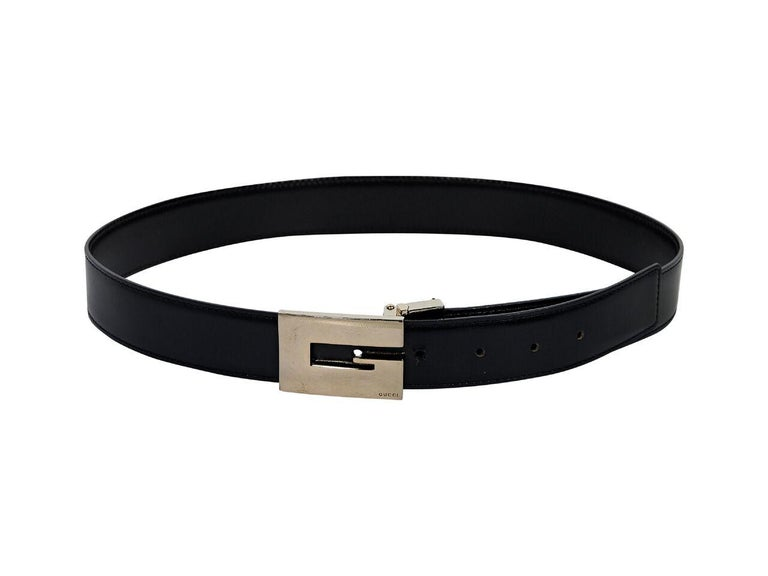Women's Black Gucci Leather Square Buckle Belt For Sale