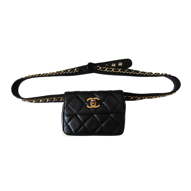 chanel belt. chanel chain hook belt quilted waist bag black leather 3