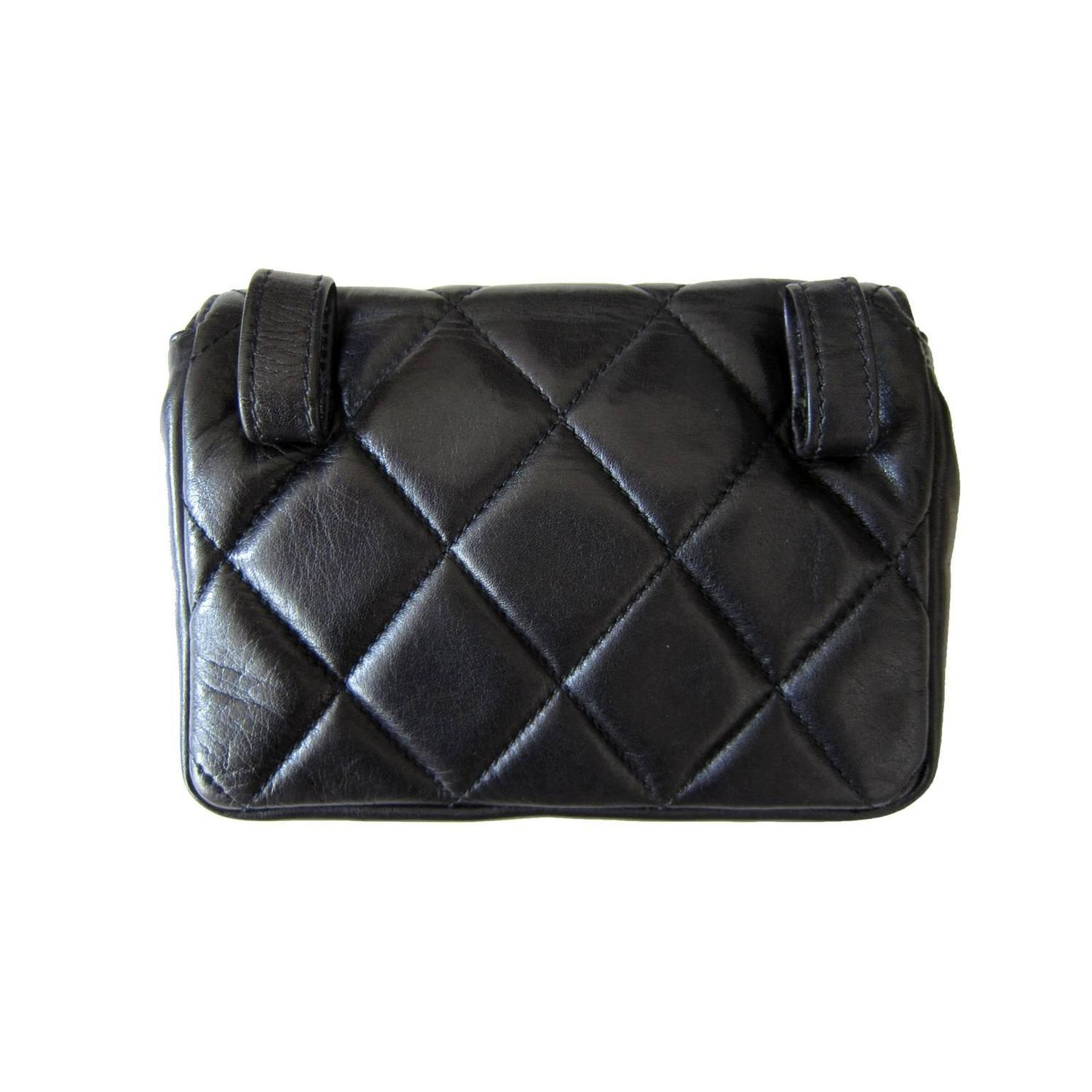 chanel chain hook belt quilted waist bag black leather at