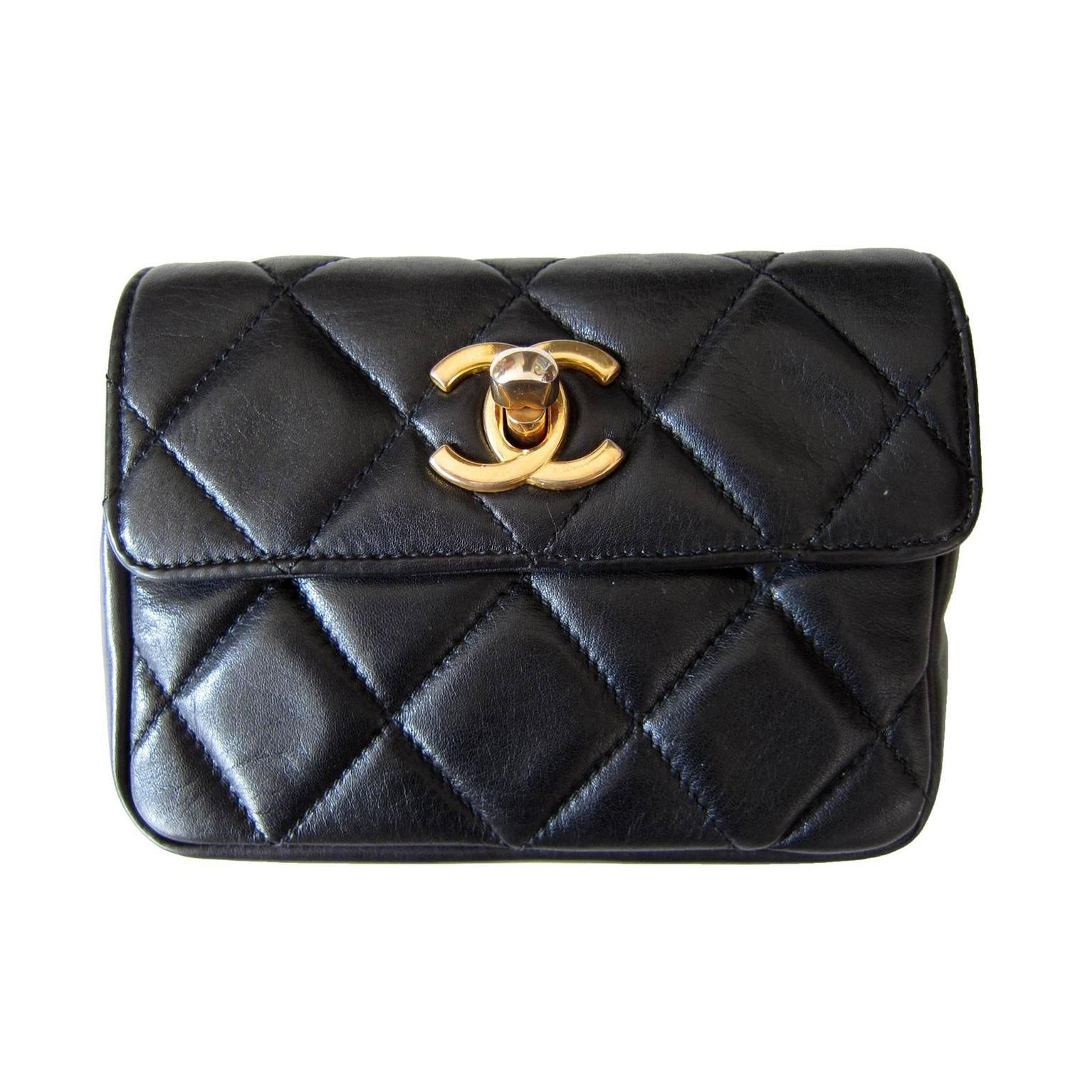 2cf88f3f225215 Chanel Chain Hook Belt Quilted Waist Bag Black Leather | Stanford ...