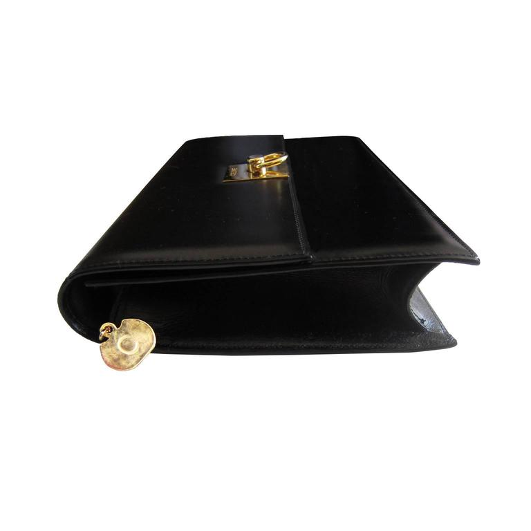 Celine Black Shoulder Clutch Golden Square Bag Vintage 1970s  In Excellent Condition For Sale In Berlin, DE