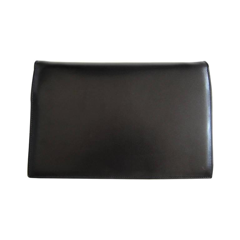 Celine Black Shoulder Clutch Golden Square Bag Vintage 1970s  For Sale 1