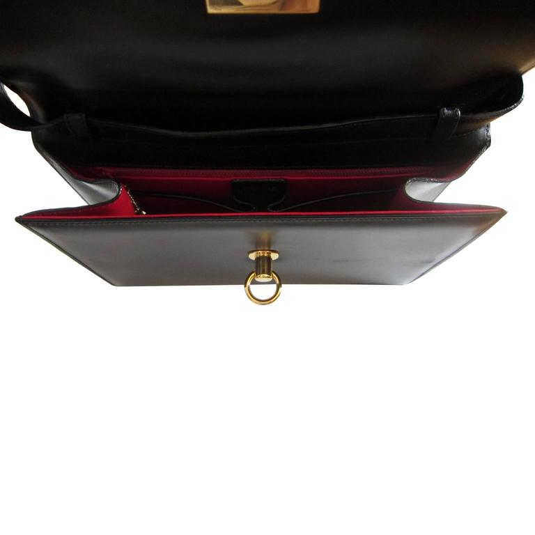 Celine Black Shoulder Clutch Golden Square Bag Vintage 1970s  For Sale 3