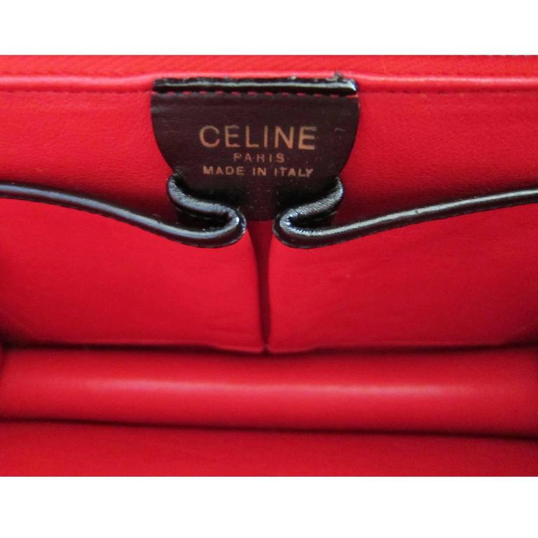 Celine Black Shoulder Clutch Golden Square Bag Vintage 1970s  For Sale 6