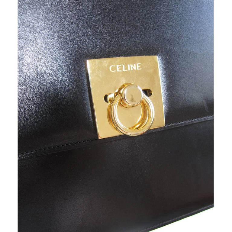 Celine Black Shoulder Clutch Golden Square Bag Vintage 1970s  For Sale 4