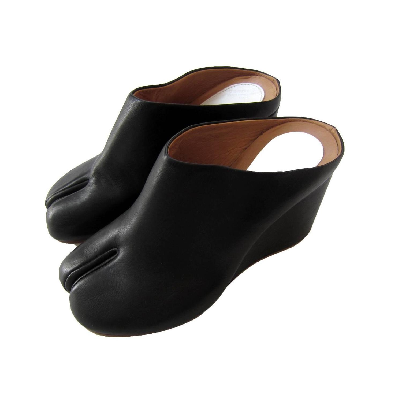 martin margiela tabi black mule wedge split toe shoes at