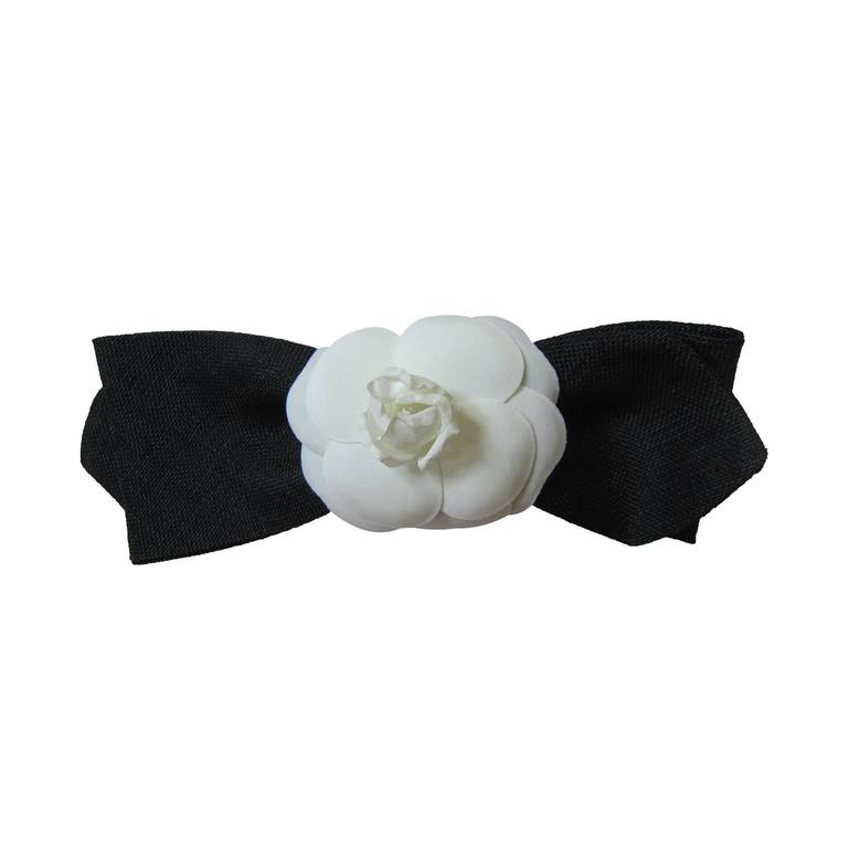 Chanel Camellia Black Bow Hair Pin Barrette  For Sale