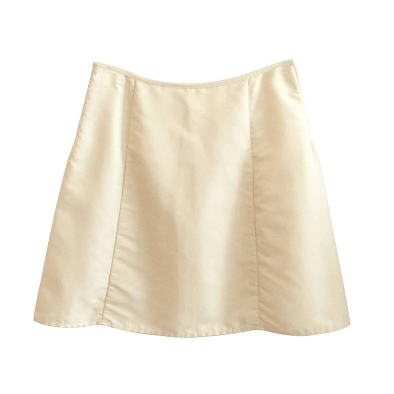 Helmut Lang nylon light cream beige mini skirt from circa 1997.