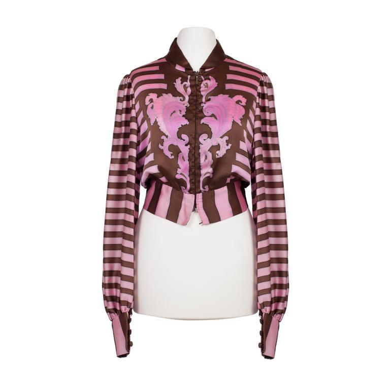 Chloe Pink Brown Silk Blouson Karl Lagerfeld 1970s For Sale 3
