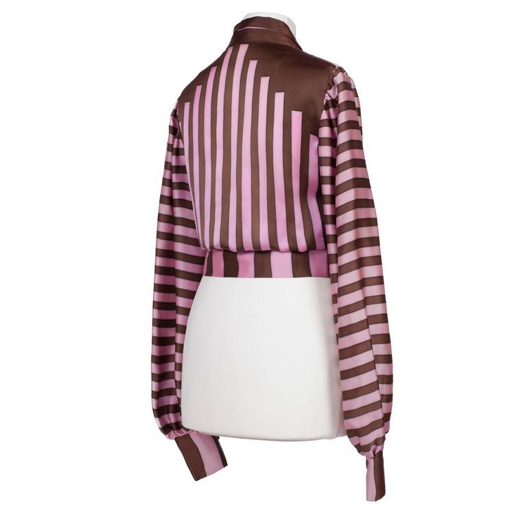 Women's Chloe Pink Brown Silk Blouson Karl Lagerfeld 1970s For Sale