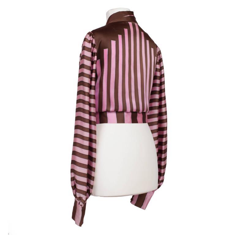Chloe Pink Brown Silk Blouson Karl Lagerfeld 1970s For Sale 1