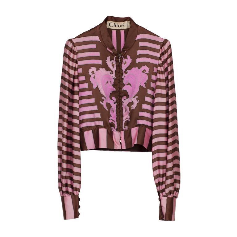 Chloe Pink Brown Silk Blouson Karl Lagerfeld 1970s For Sale 4