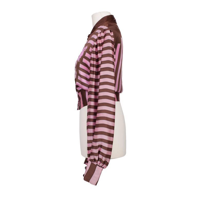 Chloe Pink Brown Silk Blouson Karl Lagerfeld 1970s For Sale 2