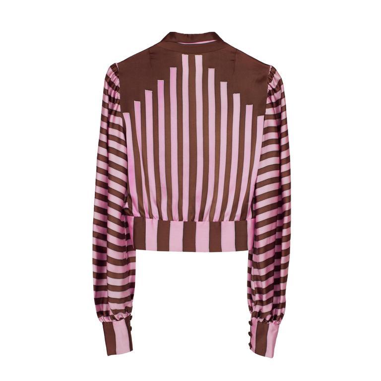 Chloe Pink Brown Silk Blouson Karl Lagerfeld 1970s For Sale 5