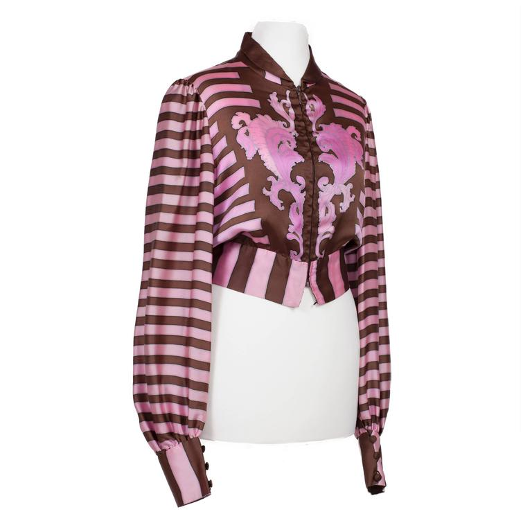 Chloe Pink Brown Silk Blouson Karl Lagerfeld 1970s In Excellent Condition For Sale In Berlin, DE