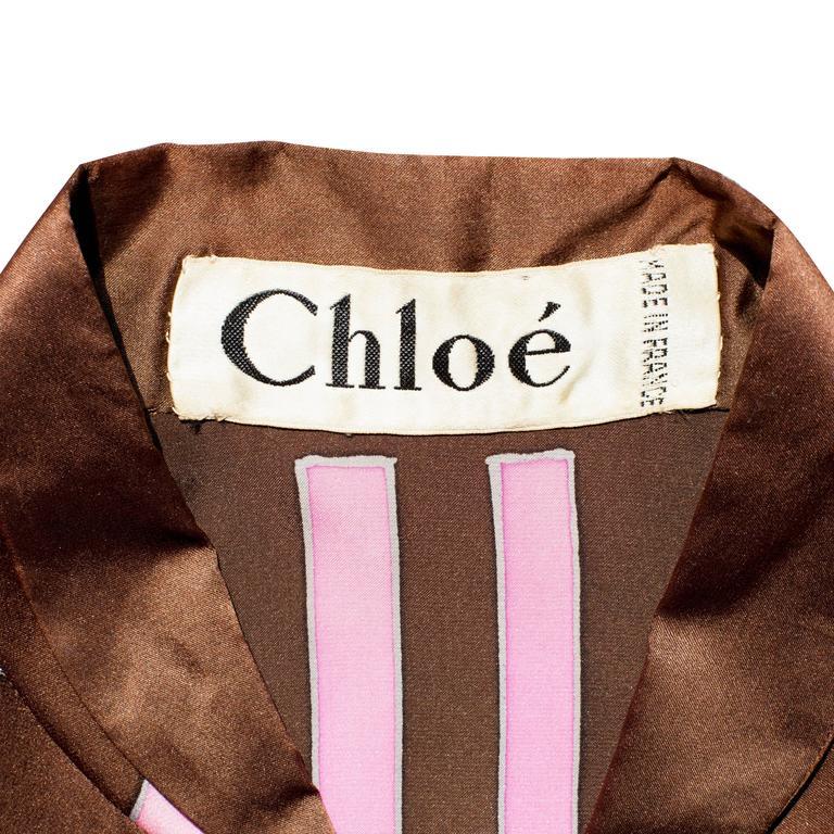 Chloe Pink Brown Silk Blouson Karl Lagerfeld 1970s For Sale 6
