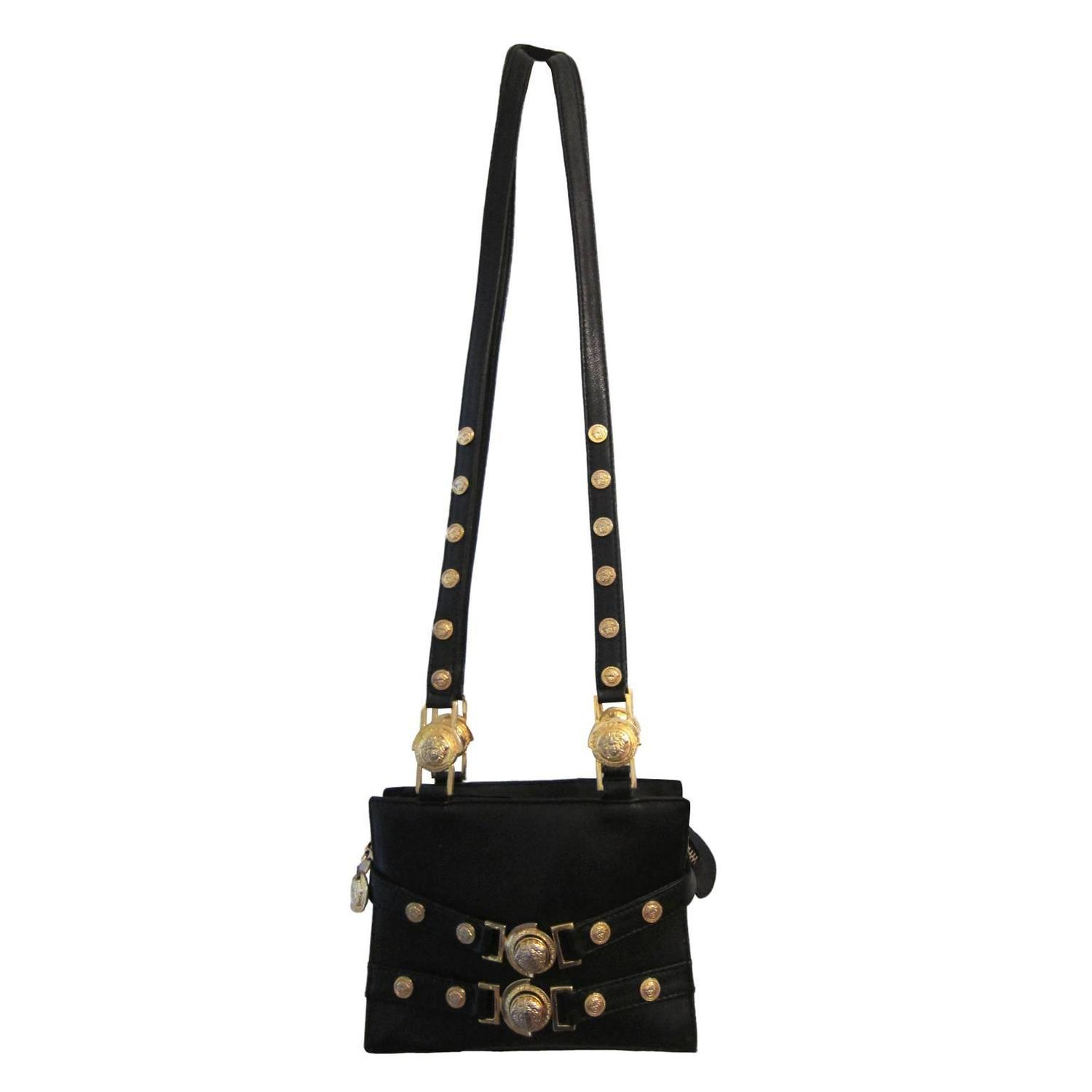 Gianni Versace Couture Black Gold Medusa Chain Mini Bag For At 1stdibs