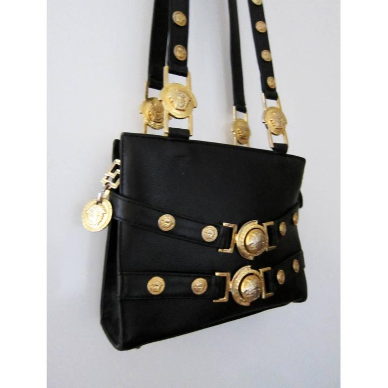 Gianni Versace Couture Black Gold Medusa Chain Mini Bag In Excellent Condition For Berlin
