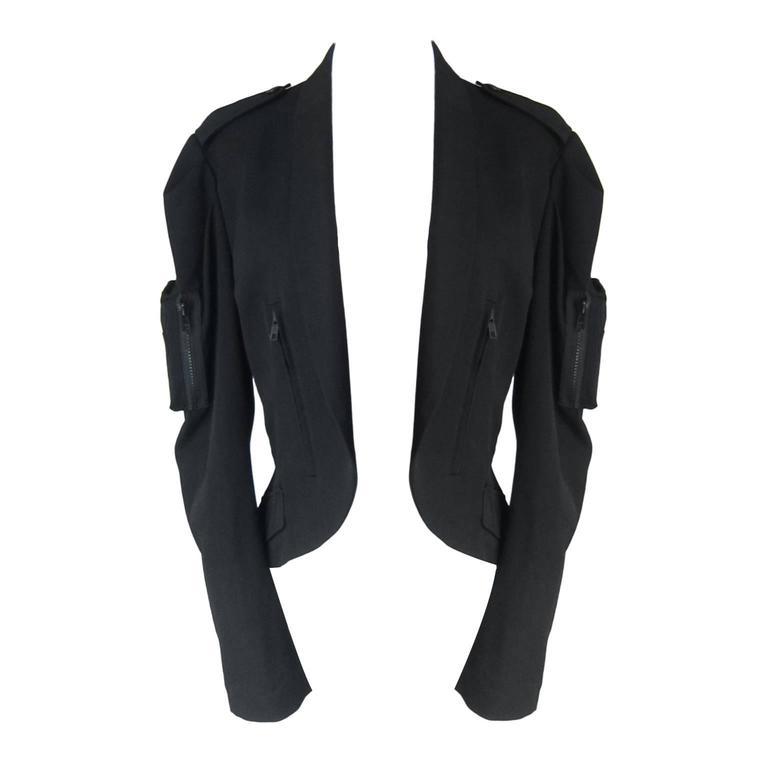 Yohji Yamamoto Black Bomber Jacket Detail