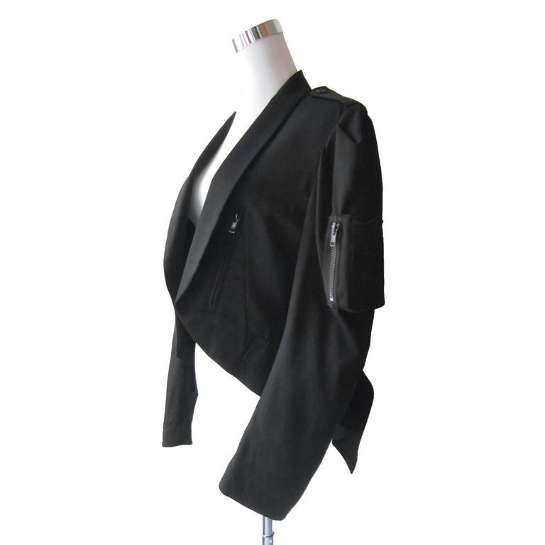 Yohji Yamamoto Black Bomber Jacket Detail In Excellent Condition For Sale In Berlin, DE
