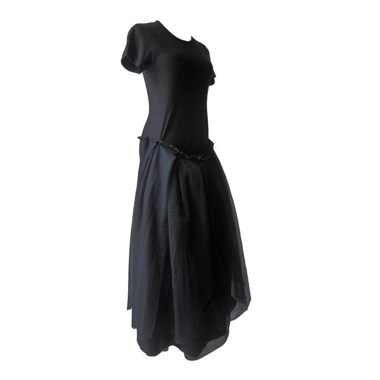 Rare Comme Des Garcons Black Dress Ad 1998 Knee Length Jersey With Layers Of
