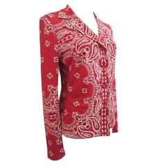 Todd Oldham Times Seven Red Paisley Shirt Top 80s