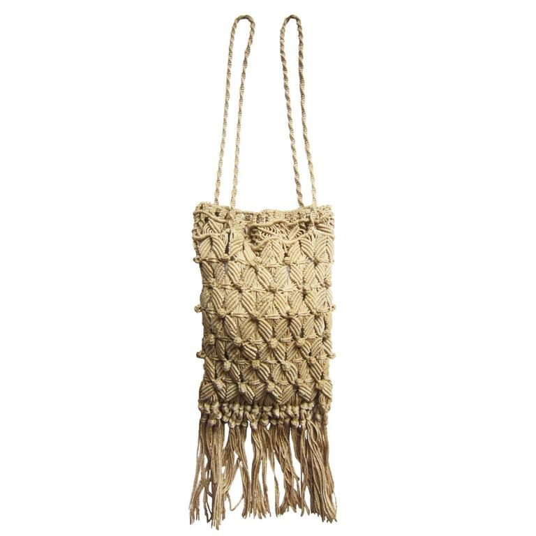 Macrame Crafted Purse Bag 1960s